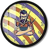 CXSMKP Orologio da Parete attivato dal Suono Barber Shop Palo a Righe Rosso Bianco Blu Parrucchiere Luce Notturna Parrucchiere Business LED Watch 12 in
