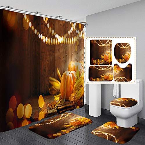 KUKUALE Kürbis Duschvorhang Bad Gardinen Set Herbst Festival Dekoration 3D-Druck rutschfeste Matte WC-Abdeckung & Bad-Sets 180x180cm(71 x 71 Zoll)