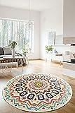Mandala Color Ethno - Alfombra de salón, antideslizante, redonda, de pelo corto, lavable, 140 cm, multicolor
