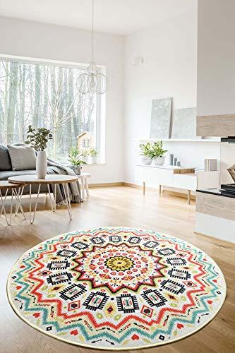 Mandala Color Ethno Tapis de salon antidérapant rond à poils courts Tapis de cuisine et chambre à coucher lavable Multicolore 140 cm