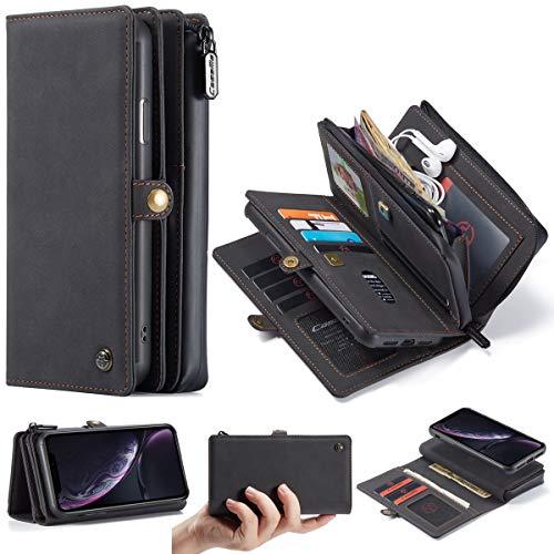 Dmsc For el caso del teléfono móvil iPhone XR, cartera con cremallera magnética, retro mate extraíble ranura de la tarjeta de crédito 17 a prueba de humedad Clamshell funda de teléfono móvil.Para iPho