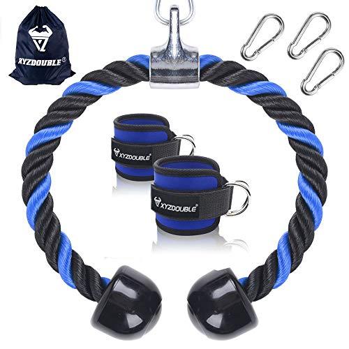 XYZDOUBLE Cuerda Tríceps Heavy Duty Tricep Rope Cable Pull Down Cuerda Equipo Nylon Manijas Antideslizantes 2 Piezas Correas Tobillos- Dorsal, Biceps, Triceps, Gimnasio o Hogar Azul