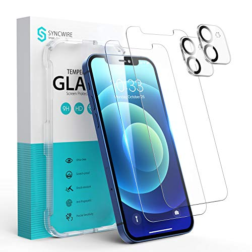 Syncwire Panzerglas für iPhone 12, 2 Bildschirm Folie und 2 Kamera Schutzfolie aus Bruchsicher Hartglas, Panzerfolie (3D Touch, 9H, HD, Kratzfest, Blasenfrei, Anti-Oil, Rahmen) - 6.1 Zoll