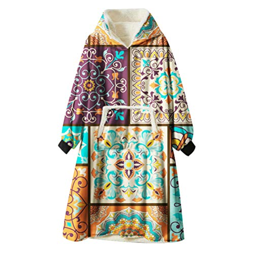 Ouduo Kapuzenpullover Decke, Mandala Böhmen Druck Übergroße Sherpa Hoodie Weiche Warme Riesen Sweatshirt Blanket Fronttasche Plüsch Pullover Decke mit Kapuze (Patchwork,One Size)