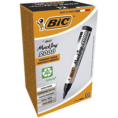 BIC Marking 2000 ECOlutions Marcadores Permanentes Punta Media - Negro, Caja de 12 Unidades, Rotuladores negros con tinta de secado rapido