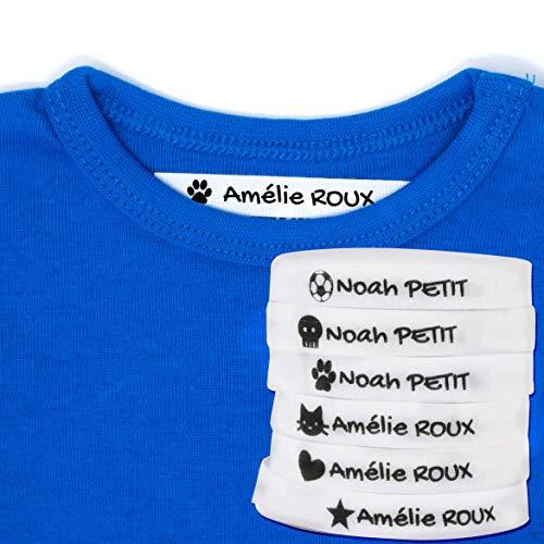 100 étiquettes à repasser personnalisées pour marquer vos vêtements avec des icônes. Blanc. Doux pour la peau de vos enfants. (Blanc)