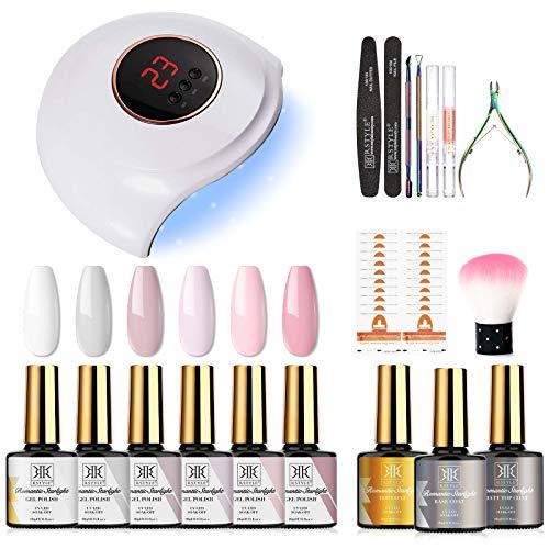 RSTYLE Kit Uñas Semipermanentes Completo 9PC Soak off Lámpara 36W LED/UV con Esmaltes de Uñas Gel Desnudo Rojo Clásico para Uña Arte o Salones Blanco Rosa