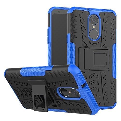 TiHen Handyhülle für LG stylo4/LG Q Stylus Hülle, 360 Grad Ganzkörper Schutzhülle + Panzerglas Schutzfolie 2 Stück Stoßfest zhülle Handys Tasche Bumper Hülle Cover Skin mit Ständer -Blau