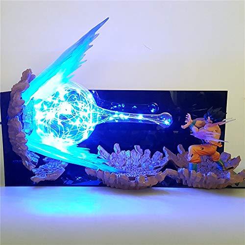Dragon Ball Z Goku Figura LED llevó la luz de la noche de explosión Escena lámpara de mesa de bricolaje for el dormitorio principal Lámparas (Lampshade Color : US Plug)