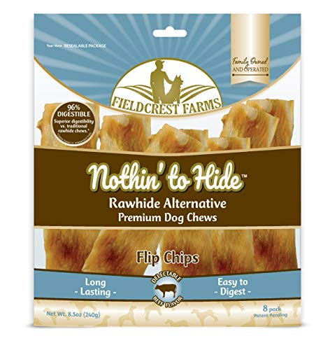 Nothin to Hide Flip Chips Chews for Dogs - All Natural Rawhide Alternative Treats for Dogs, Chicken, Beef or Peanut Butter Flavor Snack for All Breed Dogs - by Fieldcrest Farms (Beef, 8.5 Oz)