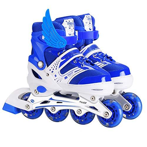 Schaats Verstelbare 6-10 Jaar Oude Kinderen Inline Skater Beginners Rolschaatsen S[36 Blauw
