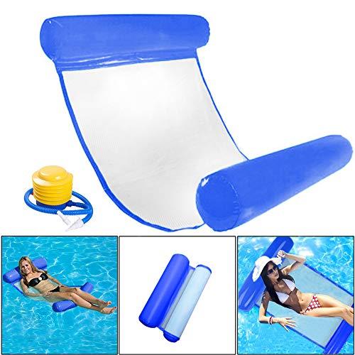 INTVN Pool Hängematte Wasser-Hängematte Schwimmliege Wasserliege aufblasbares Kopf- & Fußteil, Luftmatratze Pool Lounge für Wasserspaß Liege für Erwachsen Sommer im Freienschwimmen (Navy blau)