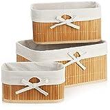 com-four® Juego de cestas de bambú de 3 Piezas - Cesta de Almacenamiento para...