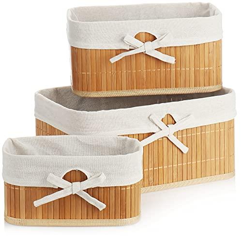com-four® Juego de cestas de bambú de 3 Piezas - Cesta de Almacenamiento para organizar y Decorar - Caja de Almacenamiento en 3 tamaños para armarios y estanterías (Cesta de bambú - 3 Piezas)