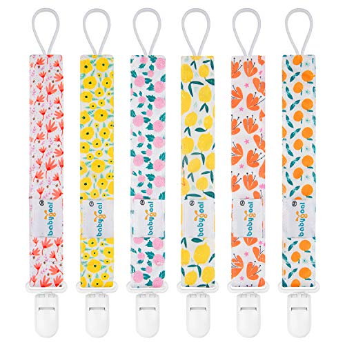 Babygoal Pacifier Clips for Girls, 6 Pack Pacifier Holder Fits Most Pacifier Styles &Teething Toys, Baby Gift for Boys and Girls 6PS14