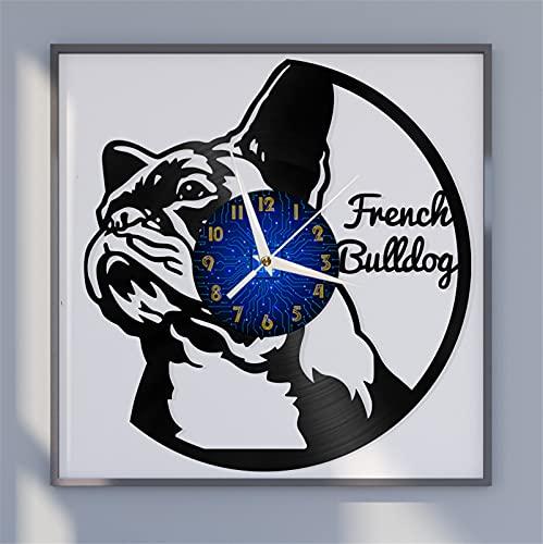 Tema bulldog francese Vinile Record Orologio da parete, Orologio da parete per cucina Casa Soggiorno Camera da letto Decorazione scolastica per caffè, club, soggiorno