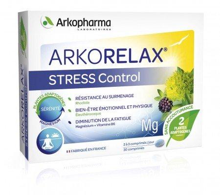 Arkopharma Arkorelax STRESS CONTROL - Rhodiola Eleuthérocoque Magnesium Vit B6 - Lot de 2 Boites de 30 Comprimés15 Comprimés sous Blister