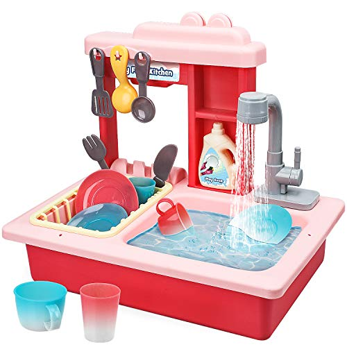 STEAM Life Kitchen Play Sink Toy with Color Changing Toy Dishes  Play Sink with Running Water  Pretend Play Kitchen Toys for Girls and Boys  Kitchen Toddler Sink Toy for Kids Pink