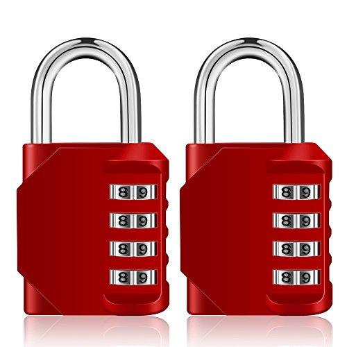 Combination Locker Padlocks 2 Pack, 4 Digit Padlock Outdoor with Side Window, Gym Padlocks, School Locker Locks, Weatherproof Combination Locks for Backyard Shed, Fence Gate (Red)