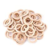 """Wood Rings 50pcs Wooden Craft Ring Smooth Unfinished Wood Circles, 2"""" Natural Wood Rings for Handmade DIY Wooden Ring for Macrame Napkin Teething Toys Pendant Connectors Jewelry Making, 50mm 50 Pack"""