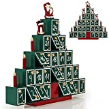 Deuba Calendario dell' Avvento riempibile Piramide 24 Piccoli Regali in Legno Natale Bambini Decorazione Natalizia