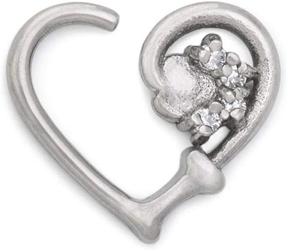 Painful Pleasures 16g Stainless Bendable Heart-Shaped Ear Jewelry — Paw Print and Bone Design with Crystal Jewels