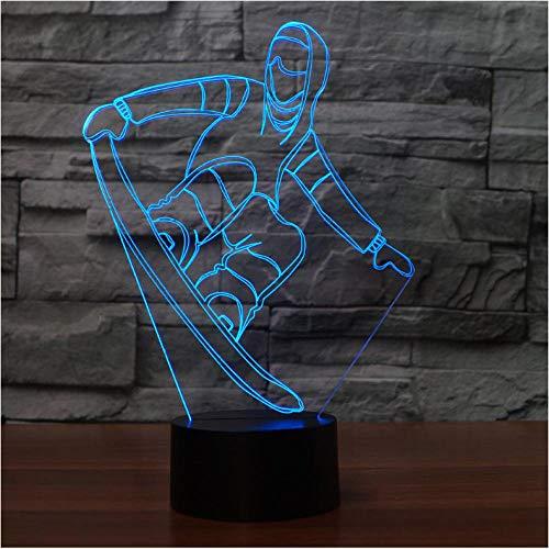 Pbbzl Tafellamp voor snowboard 3D usb visual LED nachtlampje kleurrijke verlichting voor de slaap Ski Ski Modellation rekken voor Nieuwjaar Decor