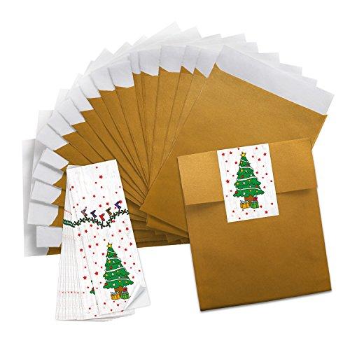 10 goudkleurige minipapieren zakjes papieren zakjes sieradenzakje (13 x 18 cm) + 10 stickers groen wit rood kerstboom (5 x 15 cm) kerststickers - verpakking Kerstmis voor give-away