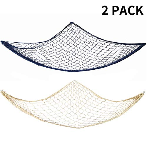 Fish Net Decor, 2 Pack Decorative Fishing Nets, for Home Décor, Mediterranean Theme Party, Living Room, Bedroom Wall Hanging Decoration, 40 x 78 Inches, Natural Creamy White and Ocean Blue Color