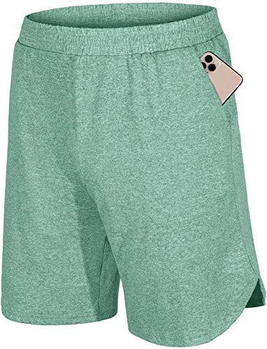 Fulbelle Mens Running Shorts,Athletic Workout Gym Golf Cargo Juniors Elastic Waisted Clothes Double Layers Performance Mesh Short Pants Pants with Pockets Summer Boyshorts Green S