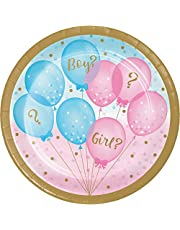 Creative Converting Gender Reveal Party Plate, 7-Inch Diameter, Multicolour