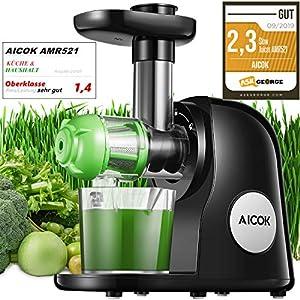 Licuadora Prensado en Frio, Aicok Licuadora Frutas Verduras con Función inversa, Extractor de zumos con Motor Silencioso, Fácil de limpiar con un cepillo, Libre de BPA, Negro
