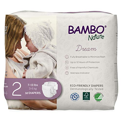 Bambo Nature Bambo Nature Premium Eco-Friendly Baby Diapers, Size 2 (7-13 Lbs), 32 Count