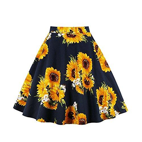 Dames Swing Midi rok jurk, hoge taille Een lijn vintage zonnebloemen patroon, zomerrok plooirok A-lijn elegant gevouwen rok High Taille knielange rok, S-XXL