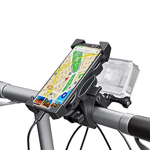 Wiecok Soporte Movil Gopro [2 In 1], Soporte Universal Manillar para Bicicleta y Motocicleta con Rotación 360°, Anti Vibración para 4.0-6.5 Smartphones & GoPro Hero, etc (Diámetro 16-60 mm)