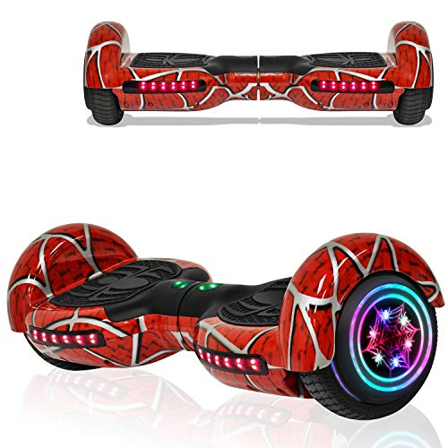 Hoverboard for Kids Adult Spider Self Balancing Hoverboard with LED Lights Wheels Bluetooth Speaker UL 2272 Certified Hover Board (RED)