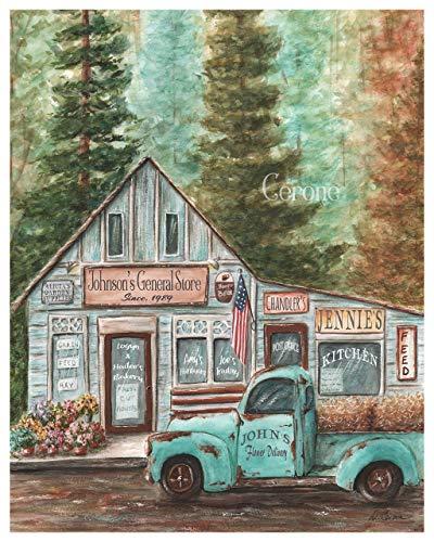 Rustic Blue Truck Decor, Personalized Family Name Wall Art, Farmhouse Kitchen PRINT or CANVAS, Vintage Americana Farm Gift Idea