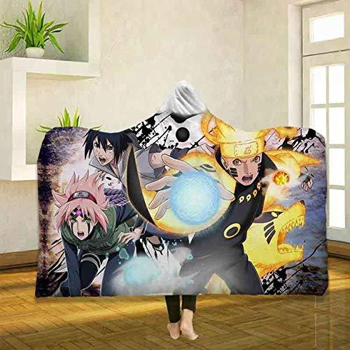 BEDSETVELVET Mantas para Cama Anime Naruto Impresión 3D Manta con Capucha Serie de Terror Manta de Lana Manta Gruesa portátil Manta con Capucha para niños Adultos Colo B_150*200cm