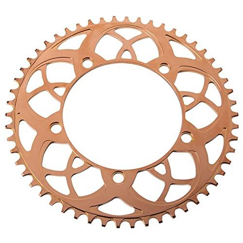 MHUI Corona Narrow Wide 130mm BCD per Bici da Strada 54T 56T Lega Lavorata CNC per Mountain Bike Ridingm, Facile da installare,d'oro,56T