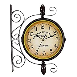 NILINMA Double Sided Wall Clock, Wrought Iron Vintage Station Clock Two Faces Dual side Antique Vintage Circle Station Wall Side Hanging Clock with Scroll Wall Side Mount Home Décor Wall Clock (12Inch