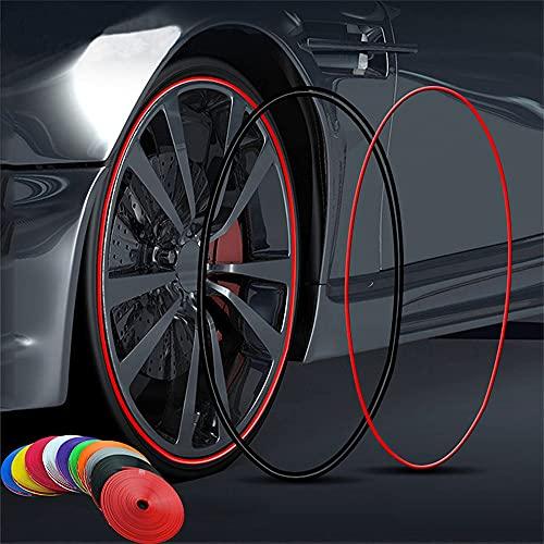 NLJY Tiras de protección de neumáticos, Tiras de protección de Bordes de Llantas de automóviles, Tiras de decoración de Ruedas de automóviles, Tiras antiarañazos anticolisión 8m,Brown