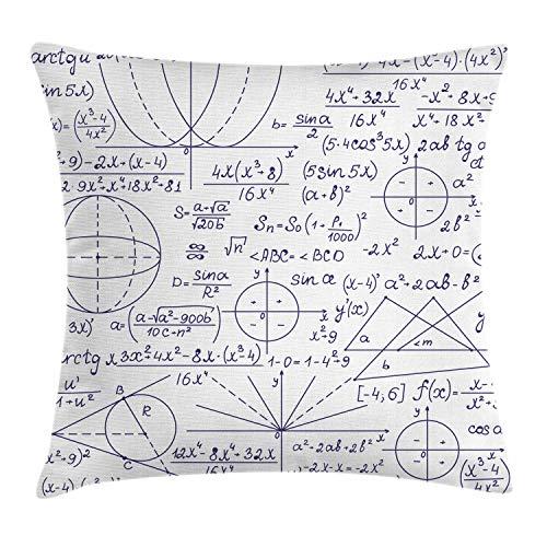 ABAKUHAUS Moderno Funda para Almohadar, Escuela Genio Estudiante Inteligente Matemáticas Geometría Ciencia Arte, Estampa Digital Nítida en Ambos Lados, 45 x 45 cm, Púrpura Oscuro