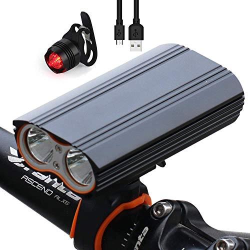 BenRich 2400 Lumen Wasserdicht MTB Fahrrad Mountainbike Licht USB wiederaufladbar 4 Modi vorne LED Lampe leistungsstark fit für jedes Fahrrad MTB