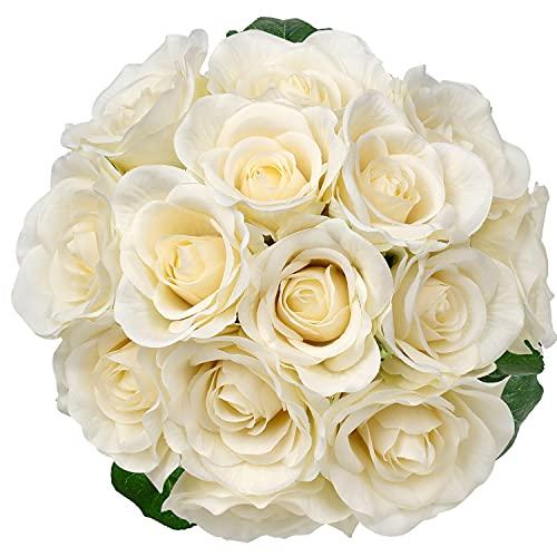 Artificial Rose Bouquet Fake Silk Flowers Artificial Flowers Wedding Bride Holding Romantic Fake Flower Bouquet Party DIY Floral for Home Garden Decoration-Cream Rose