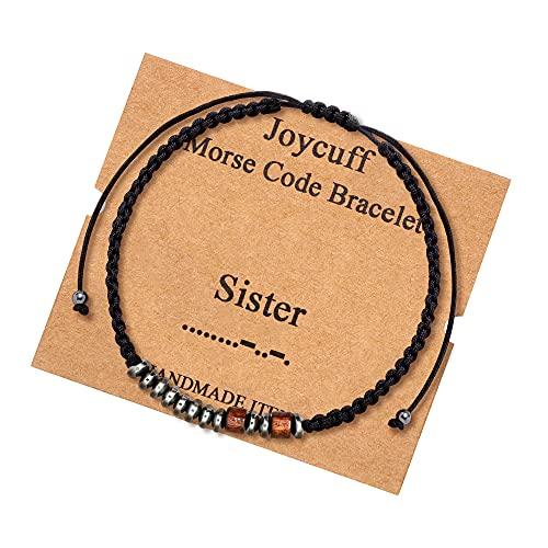 Gifts for Sister Morse Code Bracelets for Sister Funny Fashion Silk Wrap Bracelet Christmas Gifts for Sister Inspirational Motivational Secret Jewelry