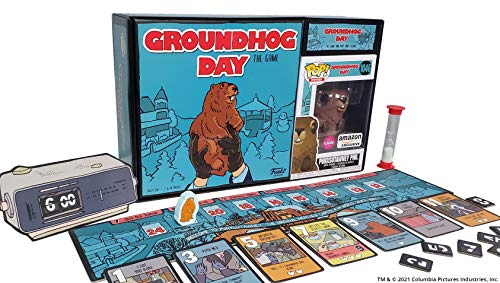 Funko Games: Groundhog Day - The Game, with Flocked Punxsutawney Phil Pop! Figure, Amazon Exclusive Game and Pop! Bundle