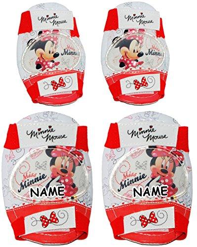 alles-meine.de GmbH 4 TLG. Set:  Disney Minnie Mouse  - Knieschützer + Ellenbogenschützer - incl. Name - für Circa 5 bis 12 Jahre - für Kinder - Gelenkschützer Knieschoner rosa..