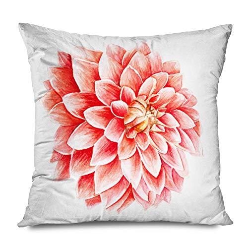 Suo Long Funda de cojín Color Rojo Otoño Acuarela Naranja Flor Blanco Naturaleza Amarillo Hermosa Belleza Flor Botánica Funda de Almohada