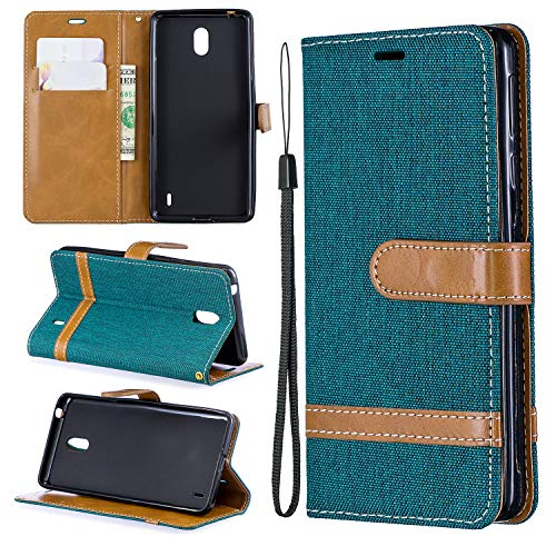 Hülle Handyhülle for Nokia 1Plus, Premium Leder Flip Schutzhülle [Standfunktion] [Kartenfächer] [Magnetverschluss] lederhülle klapphülle für Nokia 1 Plus -TTBFE030836 Grün