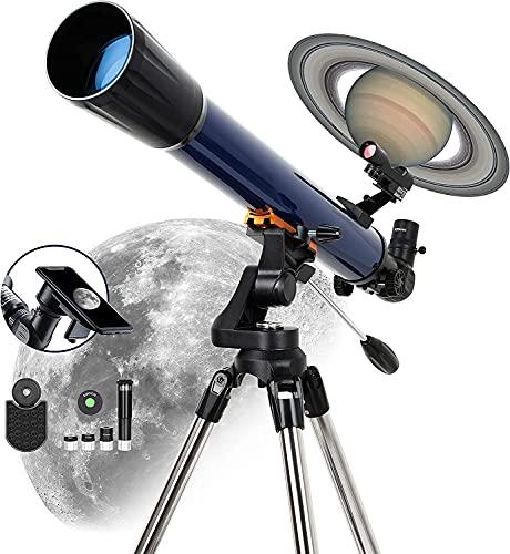 ESSLNB Refraktor Teleskop Astronomie Profil 525X Vergrößerung 70/700 Sternen Teleskop für Kinder Einsteiger Erwachsene mit Smartphone Adapter Stativ Mondfilter